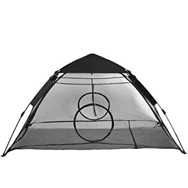 RORAIMA Outdoor Use Instant Portable Cat Tent or Habitat with Rain Fly and Two Entrance for Indoor Cats, Air Ventilate Mesh Fabric Prevent Bugs, Size 75  L X 60  W X 36  H Black