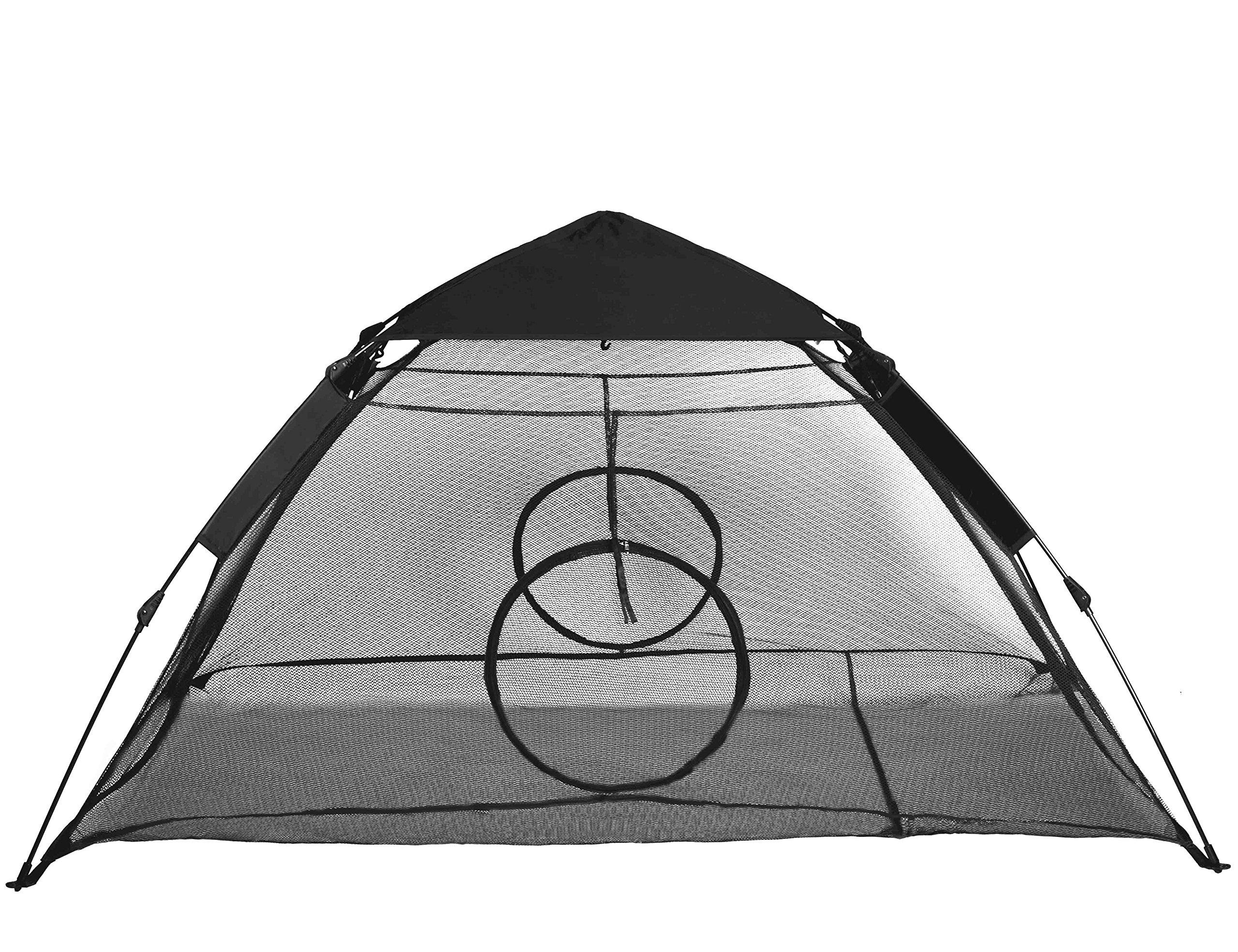 RORAIMA outdoor use Instant Portable Cat Tent Habitat Rain Fly Two Entrance Indoor Cats, Air Ventilate Mesh Fabric Prevent Bugs, Size 75'' L X 60'' W X 36'' H Black