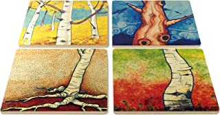 product image for My Favorite Trees Coasters - Original Paintings By Christi Sobel - Aspens, Roots, Favorite Birch, Old Tree Dreaming - Set of 4 Wooden Coasters
