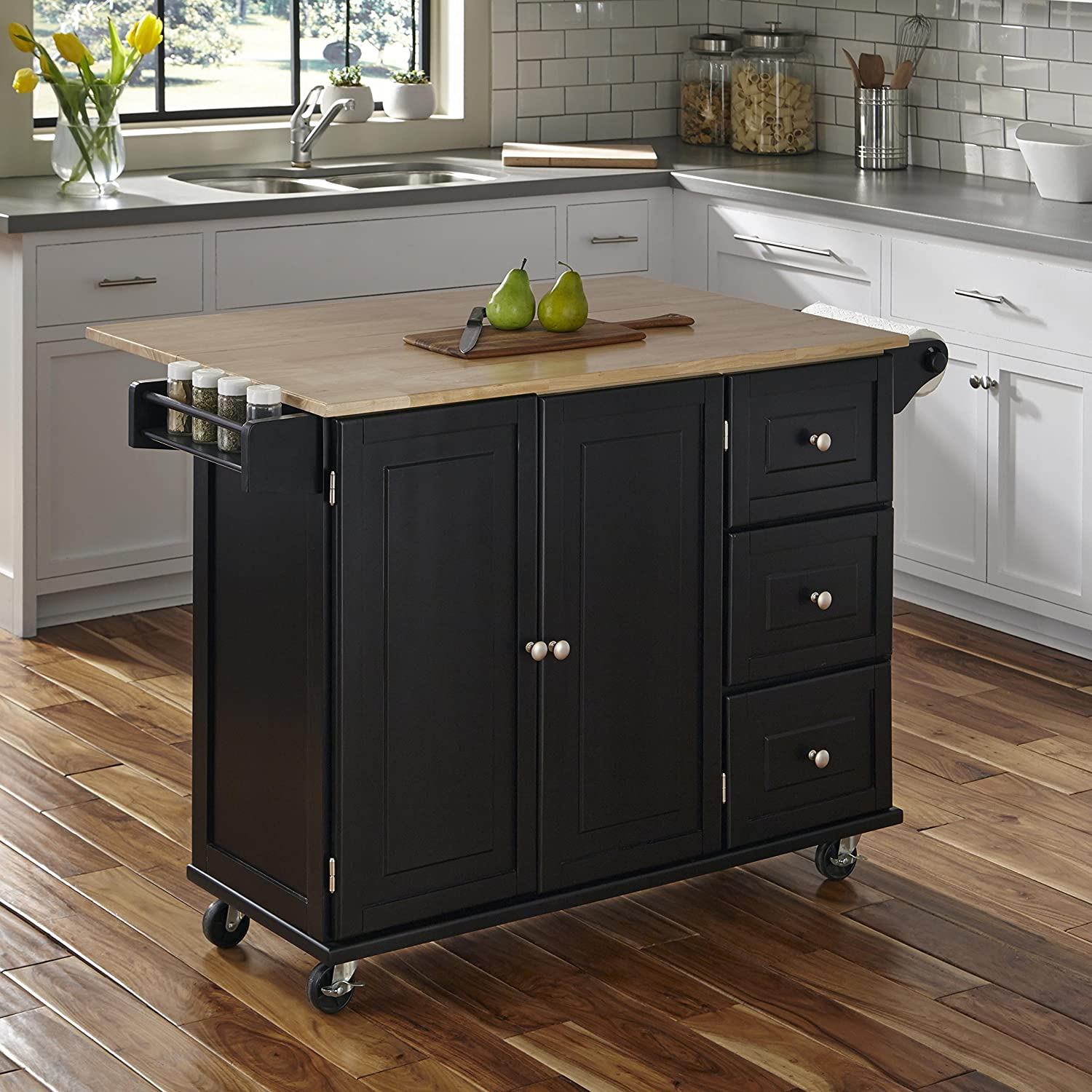 Buffet of Buffets Black with Natural Wood Top with Hutch by Home Styles