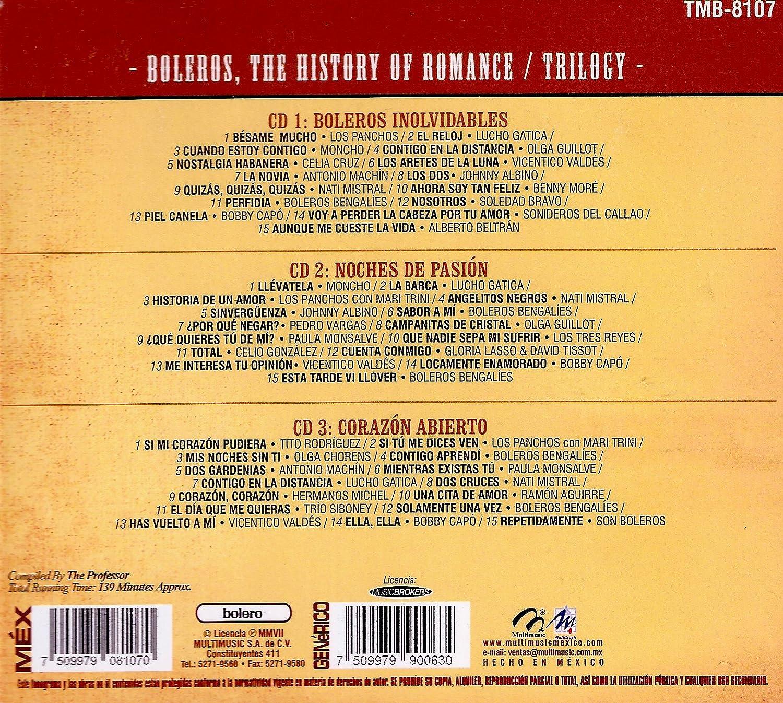 Moncho, Olga Guillot, Soledad Bravo, Boleros Bengalies, etc. Los Panchos - Boleros, the History of Romance/Trilogy - Amazon.com Music