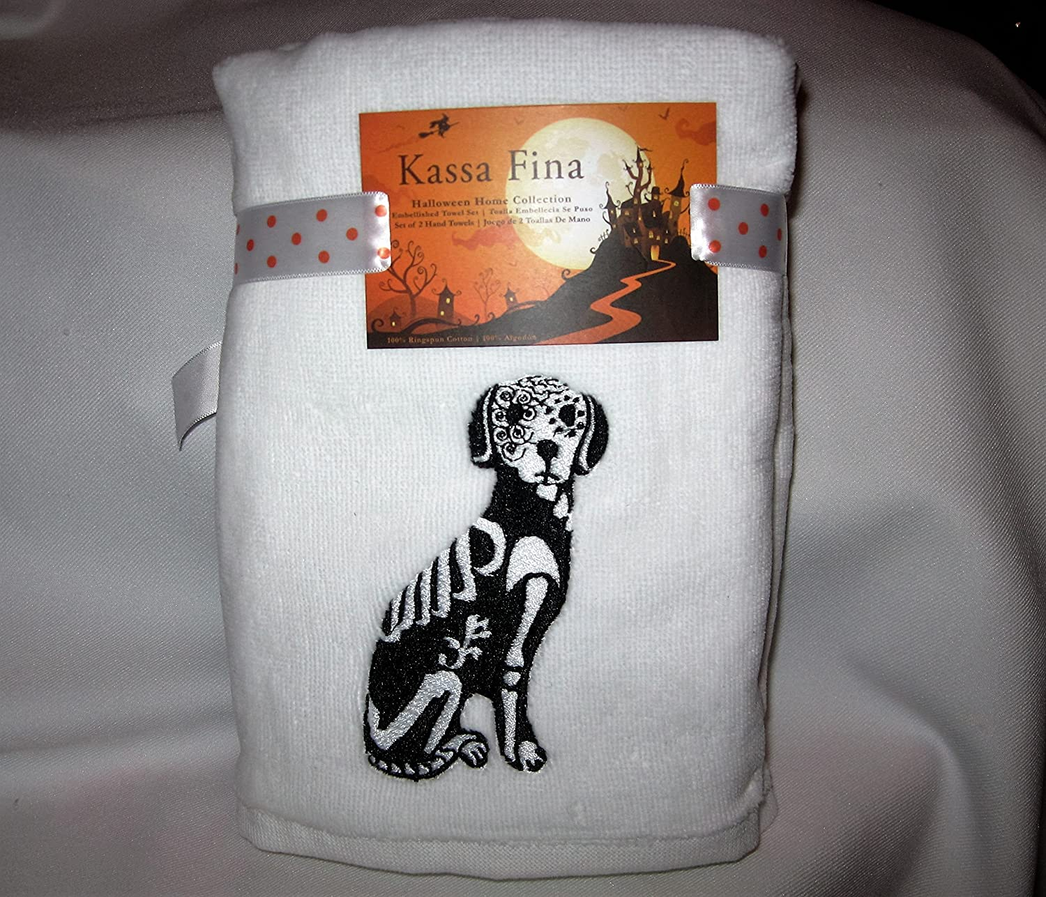 Amazon.com: Kassa Fina Set of 2 Hand Towels - Black Dog in Skleleton Costume: Home & Kitchen