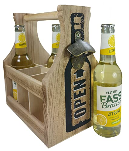 Khegva - Portabotellas de madera con abridor para 6 botellas
