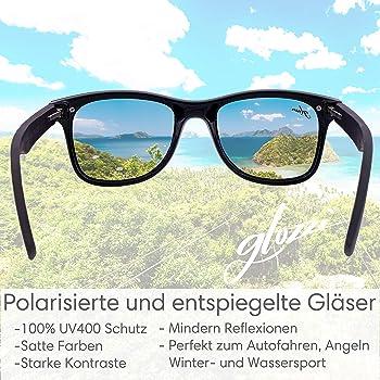glozzi Bambus Holz Sonnenbrille für Damen und Herren mit Holzbügeln Polarisiert