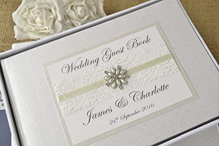 Personalized Wedding Guest Book.Elegant Ivory Personalised Wedding Guest Book