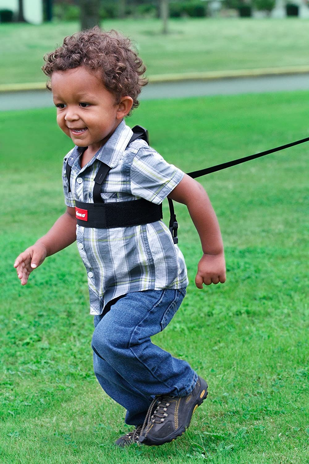 A child harness (alternative: child tether, child leash, British English: walking reins) is a safety device worn by children when walking with a parent or carer.