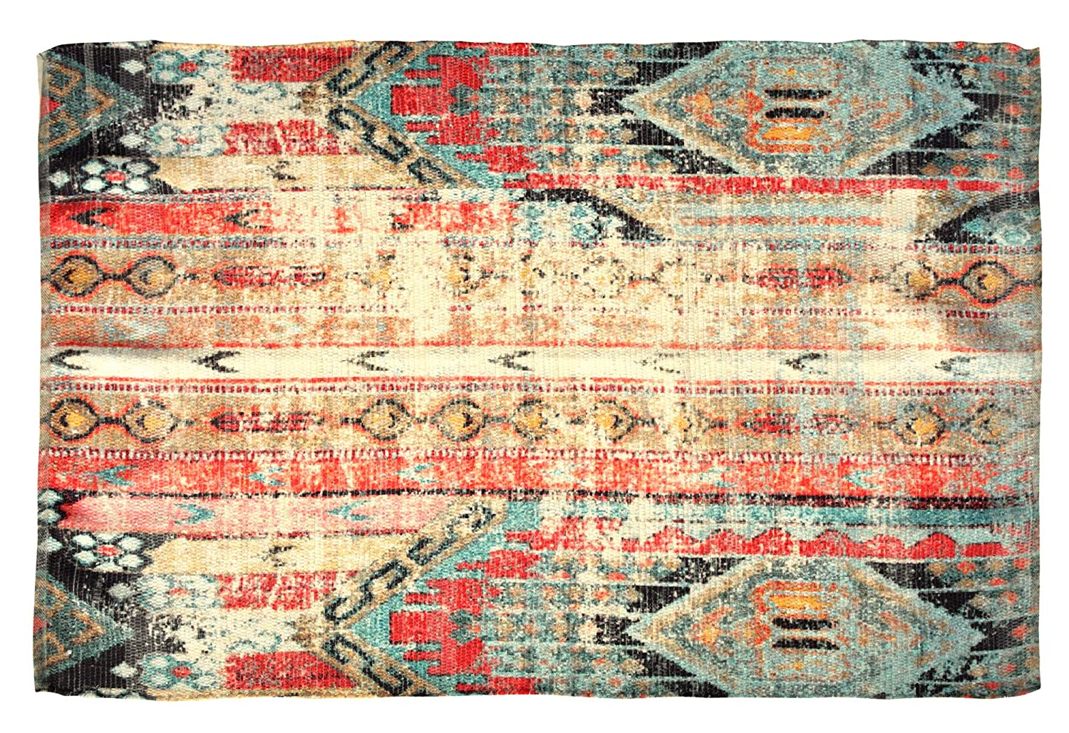 HILLFAIR - 5 x 8 Ft Area Rugs - 100% Handwoven Chindi Area Rugs - Print On Chindi Handwoven Rugs - Bohemian Design Area Rugs - Requires Rugs Pad - Distressed Look Area Rugs HILLFAIR-RUGS-5X8-RED