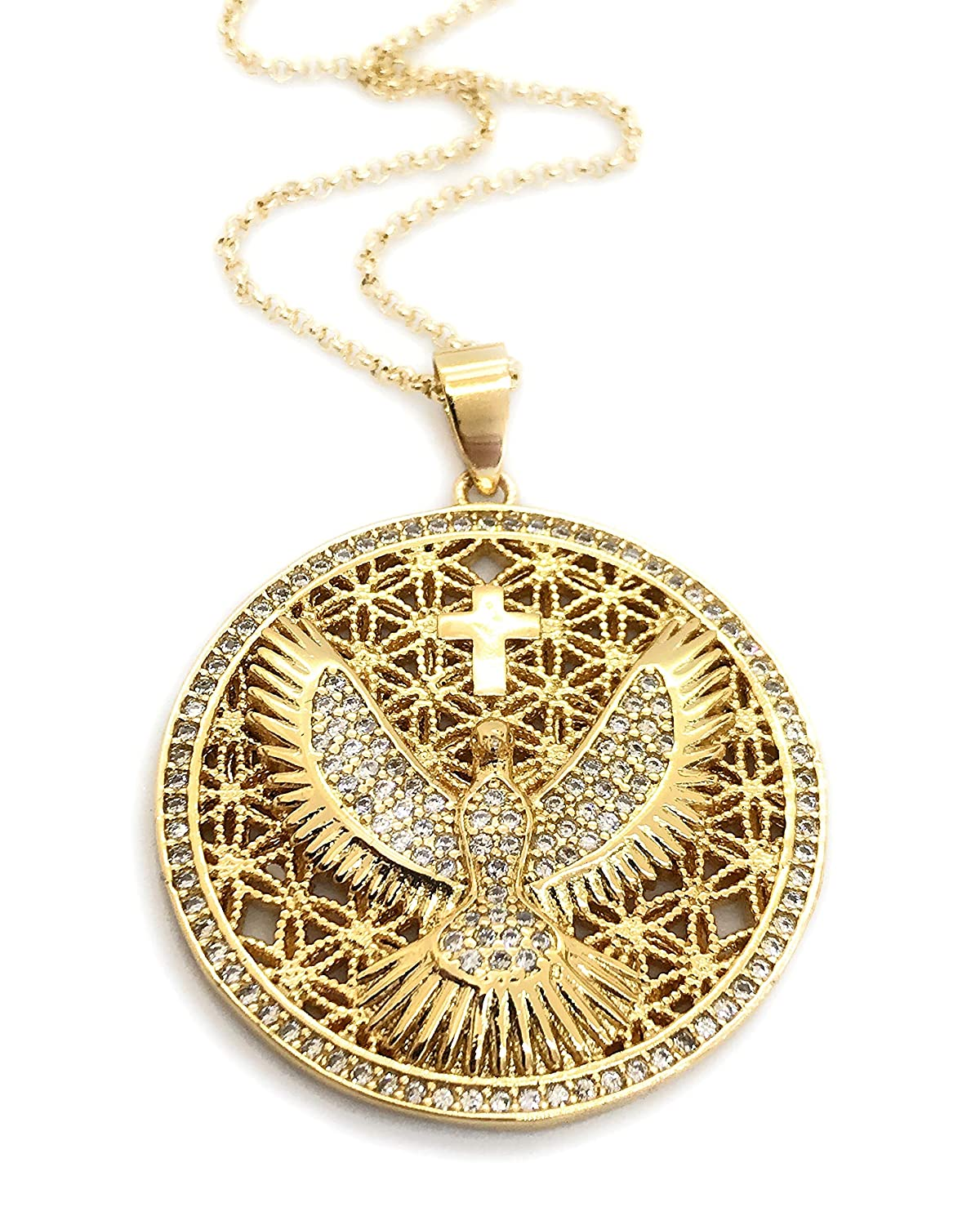 "Gold Holy Spirit Big Pendant Necklace Gold Plated Chain 18"" Religious Jewelry"
