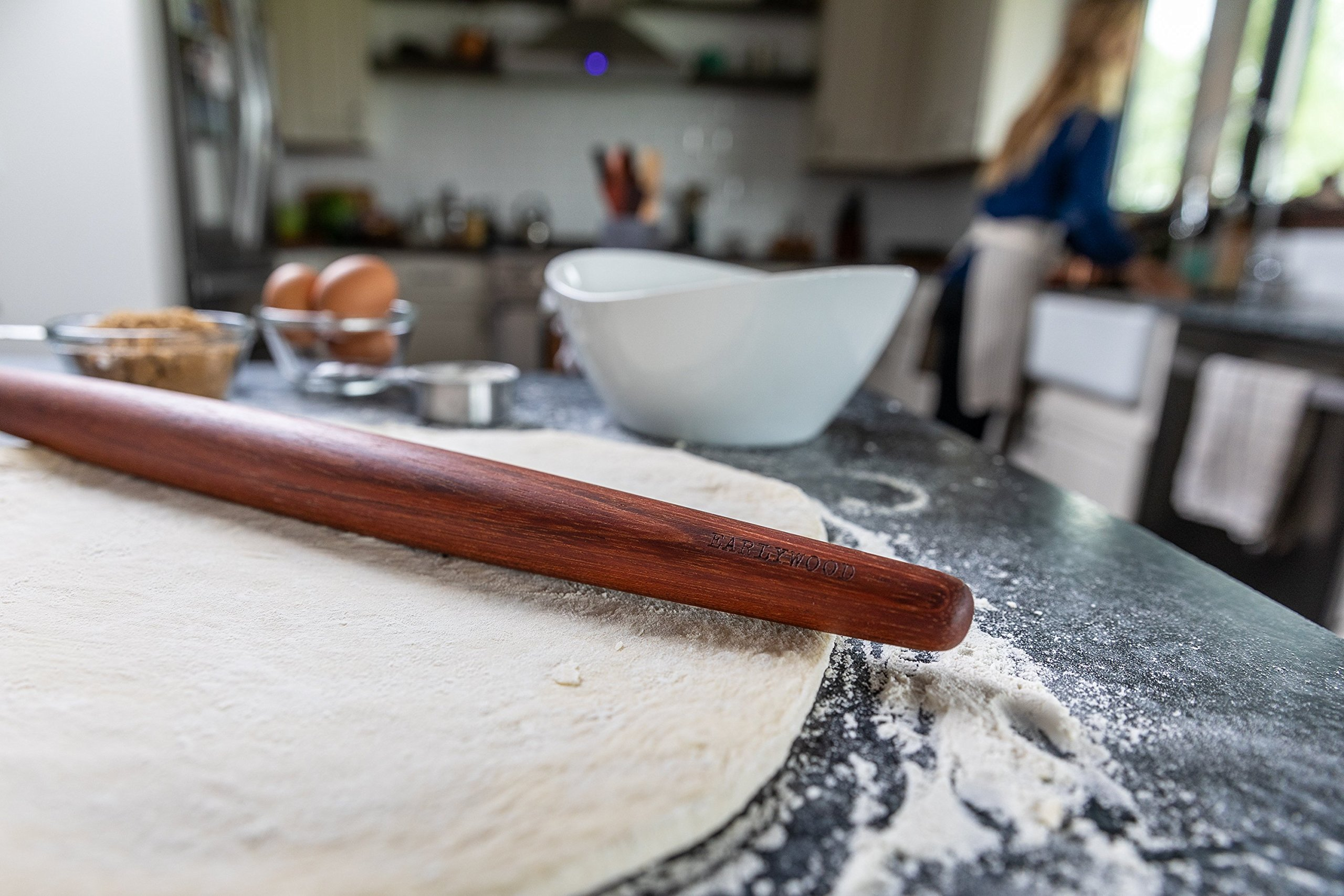Earlywood French Rolling Pin - Tapered Wooden Rolling Pin for Baking Pizza, Pastry Dough or Pasta - Hard Wood Roller Baking Pin Made in USA, By Earlywood -Jatoba, Maple, Mexican Ebony,Multicolor by Earlywood (Image #7)