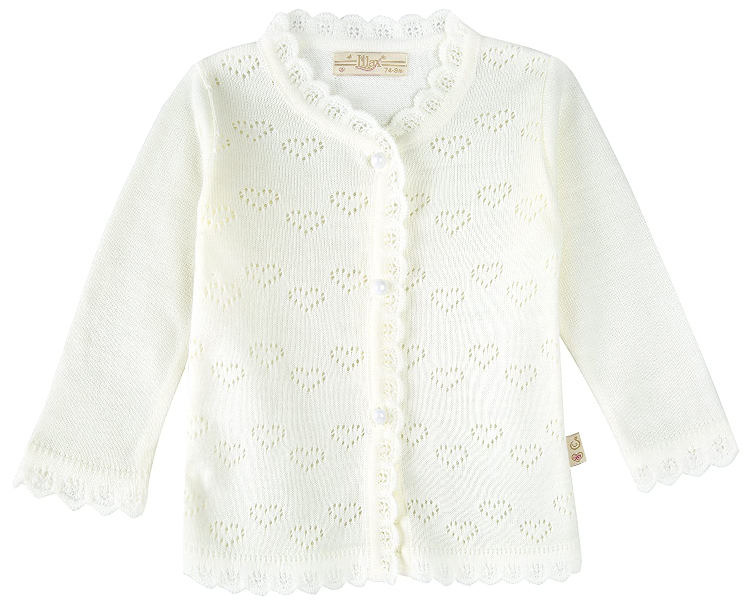 Lilax Baby Girls Little Hearts Knit Cardigan Sweater