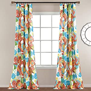 "Lush Decor Layla Window Curtain Panel Pair, 84"" L x 52"" W, Orange & Blue"