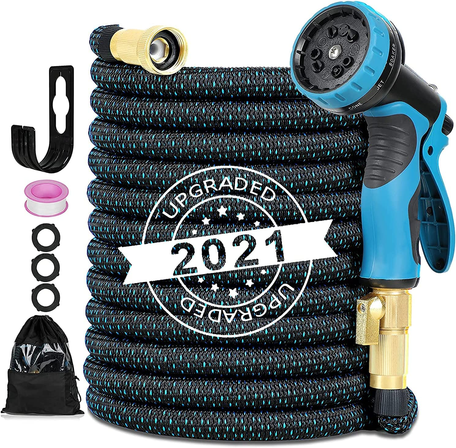 AQSURE Garden Hose 50ft , Expandable Hose with 10 Function Spray Nozzle, Flexible No-leak Garden Hose with Solid Brass Fittings, 3750D Durable Yard Hose Car Wash Hose for House/ Pet/ Floor Wash