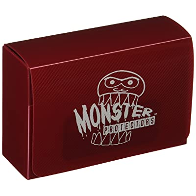 Monster Protectors Trading Card Double Deck Box with Magnetic Closure - Red (Fits Yugioh, Pokemon, Magic the Gathering Cards): Toys & Games
