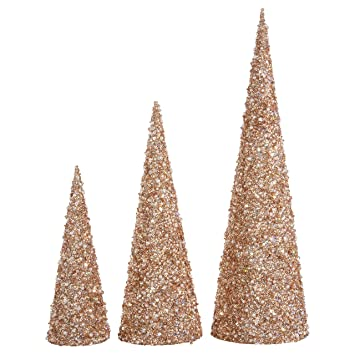 raz 22 inch 17 inch and 12 inch high jeweled glittered cone christmas trees set