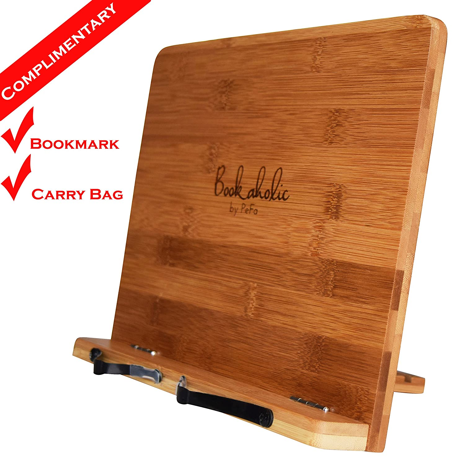 bookaholic bamboo book stand cookbook holder book