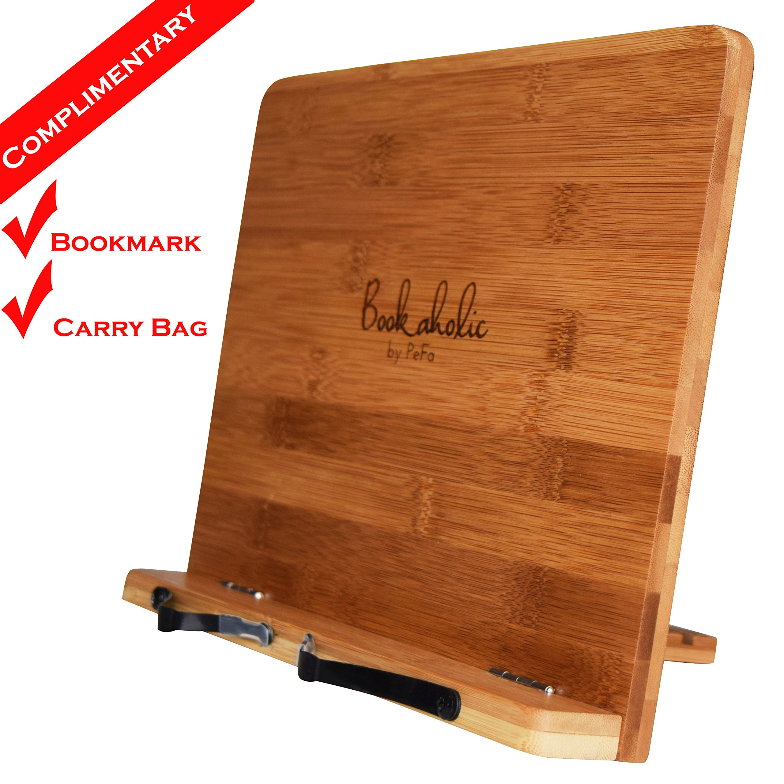 Bookaholic Bamboo Book Stand Cookbook Holder Book Rest Reading Stands Tablet Holders: The Tool to Enjoy Reading in a Healthy Posture by Bookaholic