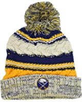 NHL Buffalo Sabres Women's CCM Cuffed Knit Hat With Pom, One Size , Blue/Yellow/Off-White