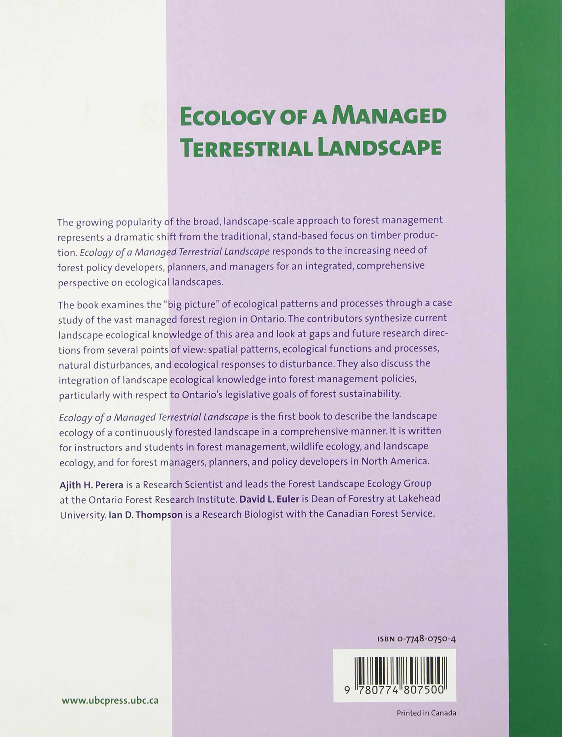 Patterns and Processes of Forest Landscapes in Ontario Ecology of a Managed Terrestrial Landscape