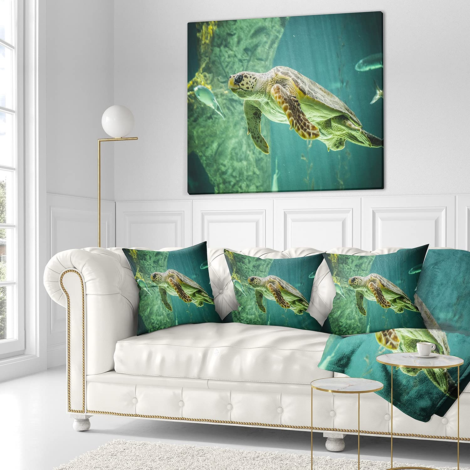 x 26 in Designart CU7815-26-26 Huge Turtle Swimming Animal Cushion Cover for Living Room Sofa Throw Pillow 26 in in Insert Printed On Both Side