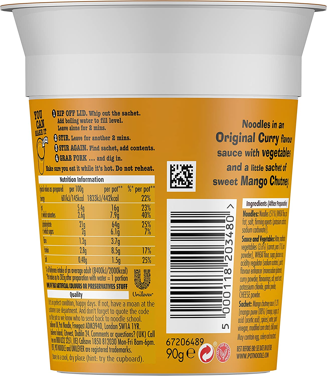 Pot Noodle Original Curry Standard 90 G