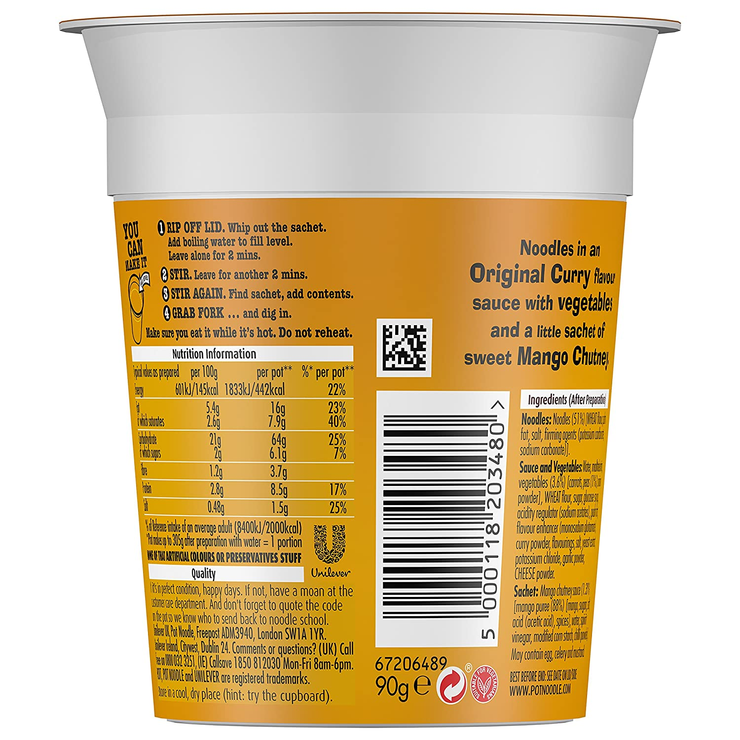 592766861e96 Pot Noodle Original Curry 90 g (Pack of 12)  Amazon.co.uk  Grocery