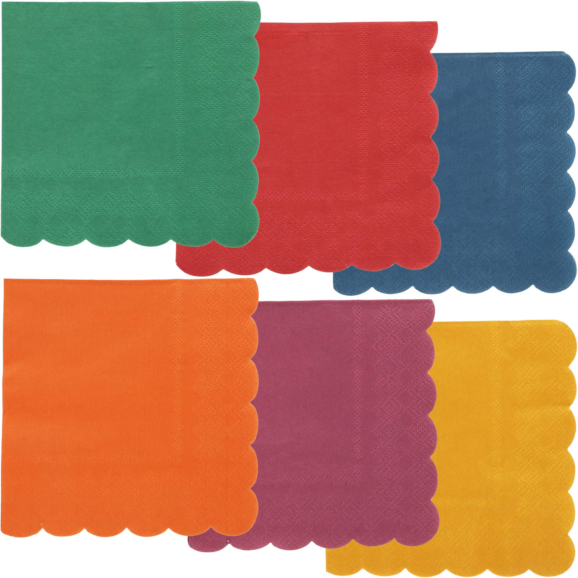Juvale 240-Pack Bulk 2-Ply Scalloped Paper Cocktail Napkins, 6 Colors, 5 x 5 Inches by Juvale