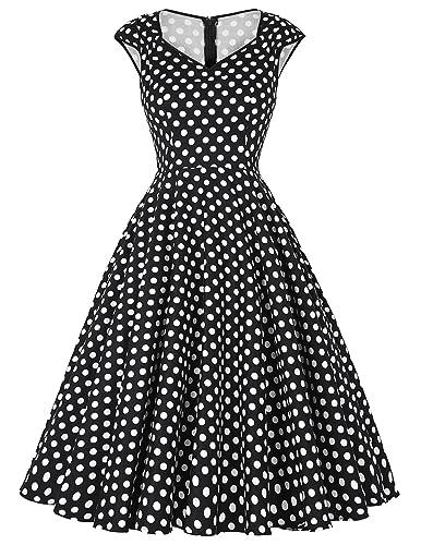 GRACE KARIN Women 50s Dress Floral Print Swing Vintage Dress CL7600