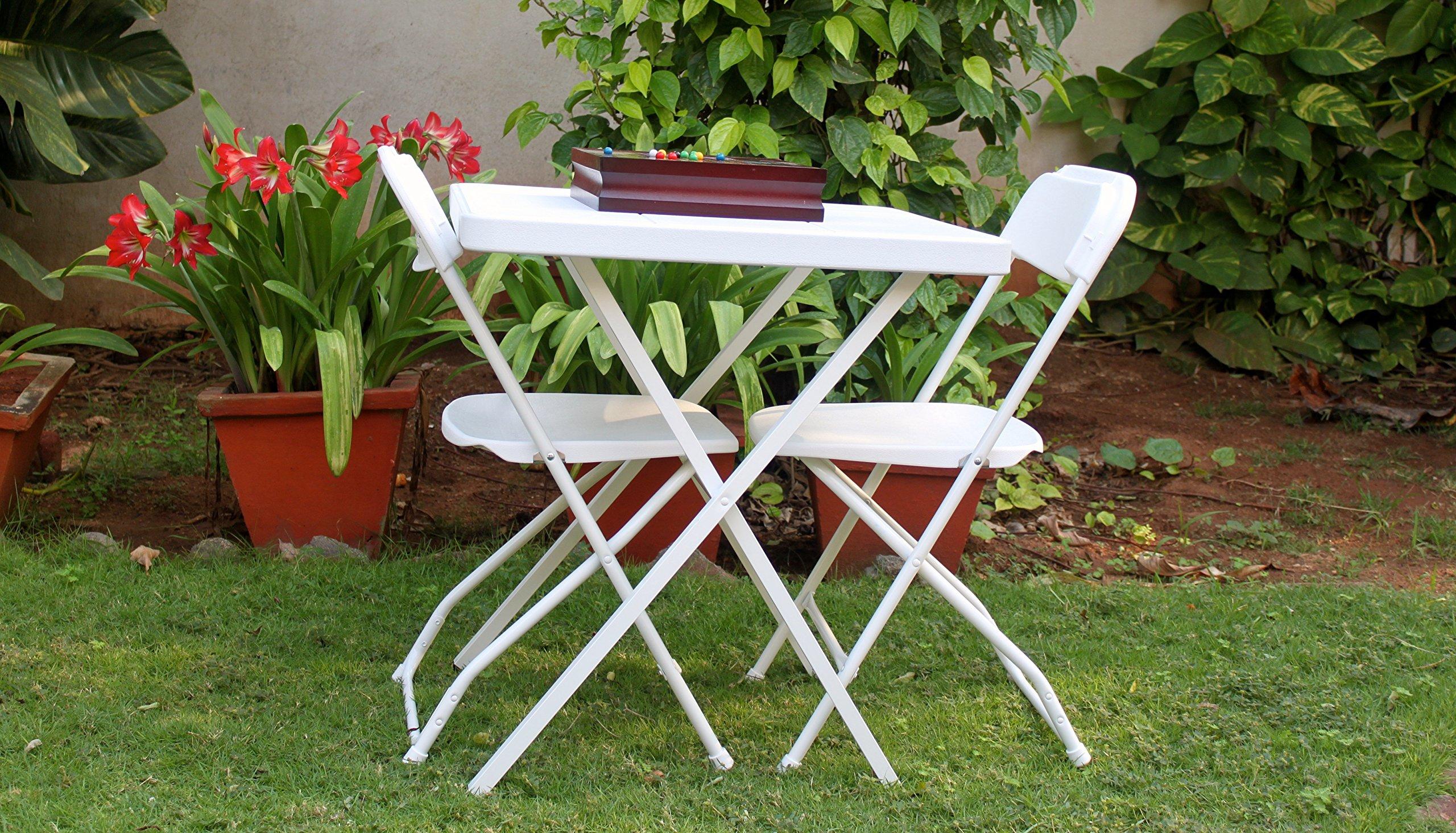 ThinkPro Balcony/Garden Folding Furniture Set: 9 Table & 9 Chairs - White