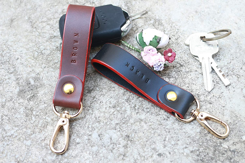 Key Fob Keychain >> Amazon Com 2 Colors Keychains Key Ring Leather Keychains Leather