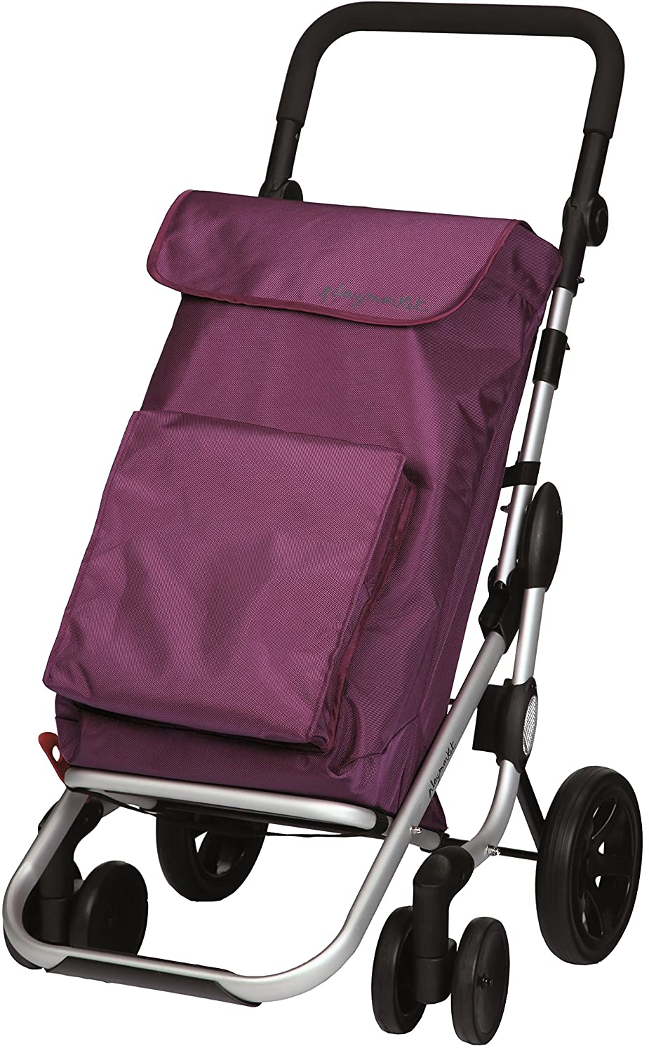 Playmarket Go Plus Large Capacity Folding Shopping Cart with Swivel Wheels, Plum
