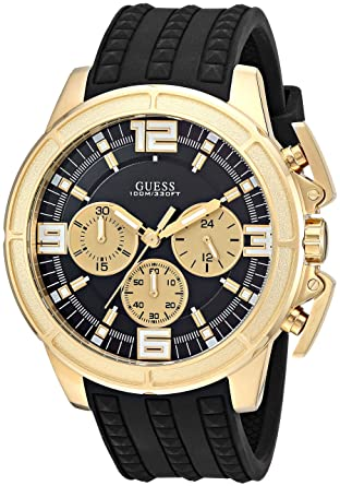 Guess Men S Stainless Steel Japanese Quartz Watch With Textured Silicone Strap Black 21 Model U1115g1