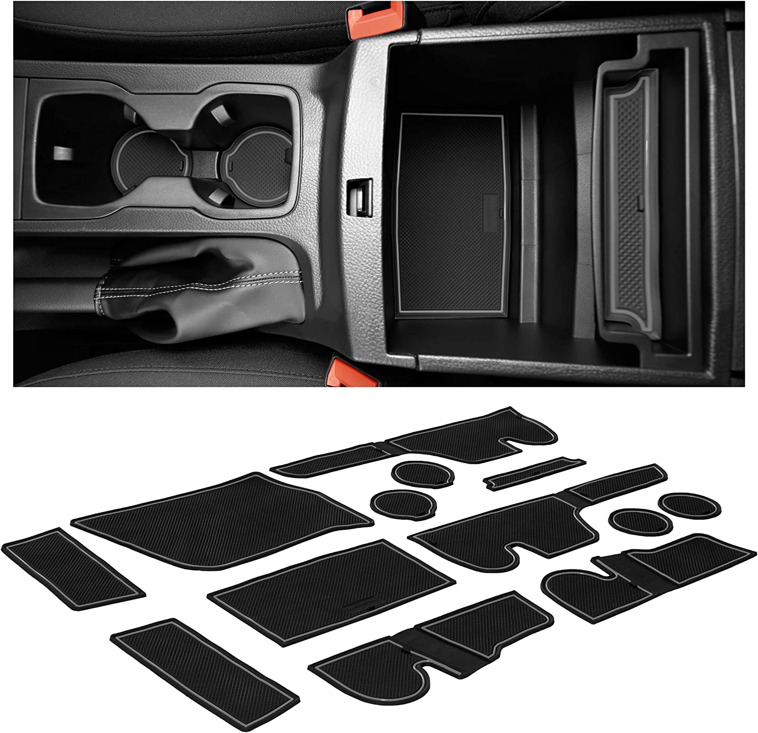 CupHolderHero for Ford Ranger Accessories 2019-2021 Interior Non-Slip Anti Dust Cup Holder Inserts SuperCab /– 4 Passenger Gray Trim Center Console Liner Mats Door Pocket Liners 13-pc Set