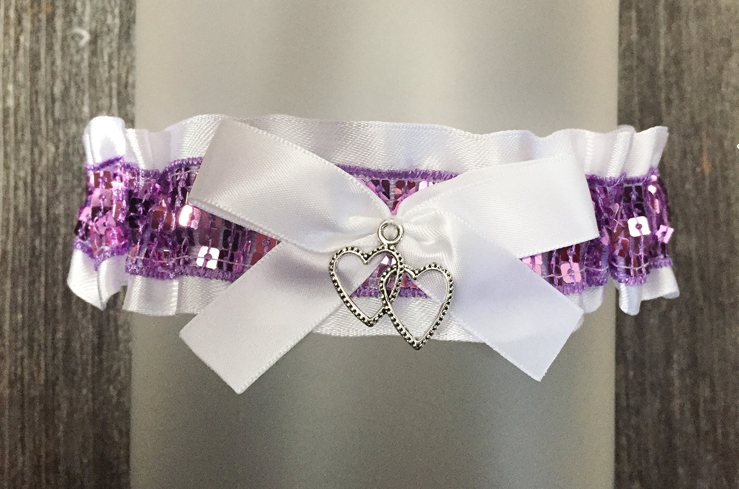 Sexy White Satin Lavender Purple Sequin Accented Keepsake Prom Wedding Bridal Garter - Double Heart Charm by Bella Supply Boutique