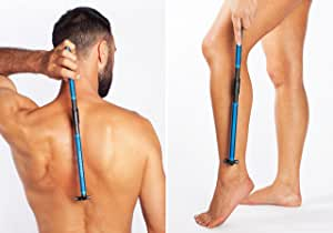 New! EVOLVE Body Razor Back Shaver Leg Shaver Sturdy Folding Handle - 4 cartridges Included - Shave Wet or Dry - Better Control and Won't Cut Your Back Like Larger Blades