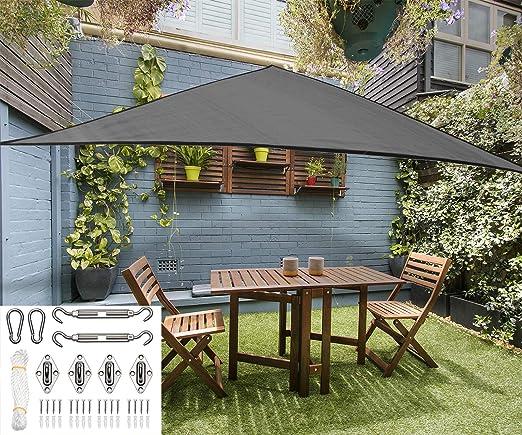 Toldo para toldo de Patio y Parque – triángulo en Color – Cubierta para Patio Exterior Duradera – toldo de pérgola – Kit de Herramientas de Acero Inoxidable Resistente de 8 Pulgadas: Amazon.es: Jardín