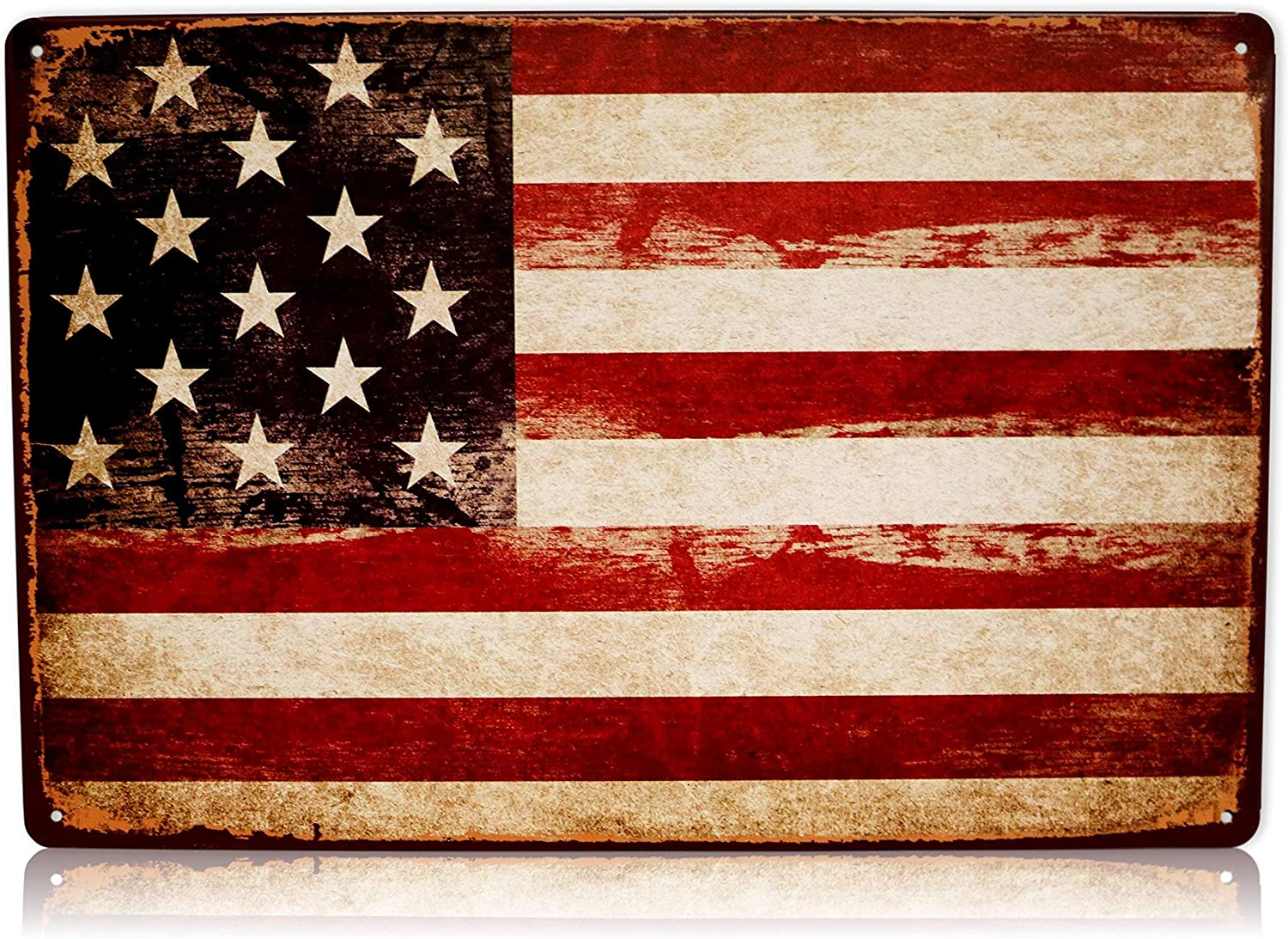 America USA Flag Man Cave Decor Sign United States American Vintage Retro Metal Tin Military Signs Size: 8x12 Inches