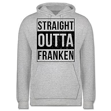 Franken Männer - Straight Outta Franken Schwarz - 3XL - Grau meliert - JH001  - Herren