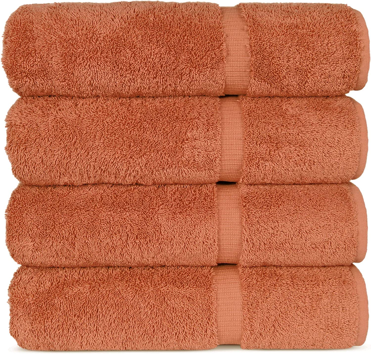 "Luxury Hotel & Spa 100% Cotton Premium Turkish Bath Towels, 27"" x 54'' (Set of 4, Coral)"