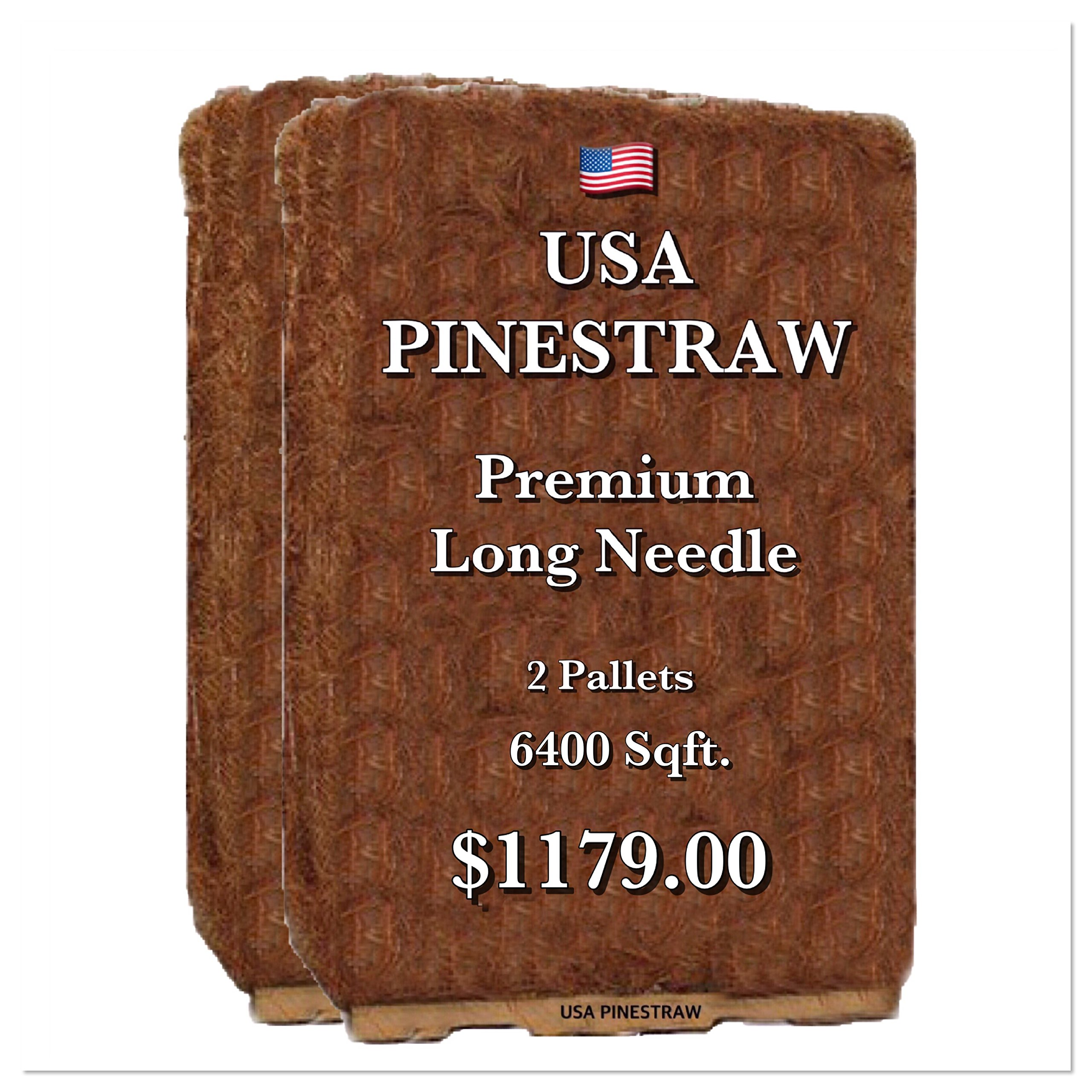 Premium Pine Straw Mulch - 14 Inch Long Needle - 2 pallets covers 6400 Sqft.