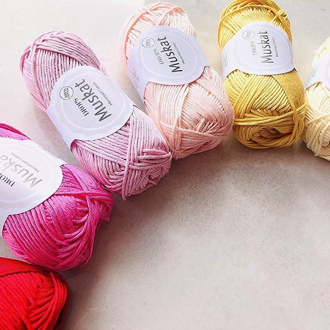 DROPS Design - Oeko Tex Standard 100 Oeko Tex - Ovillo de lana para tejer (100% algodón egipcio mercerizado, 20 unidades, colores surtidos, ganchillo, amigurumi, regalos): Amazon.es: Hogar