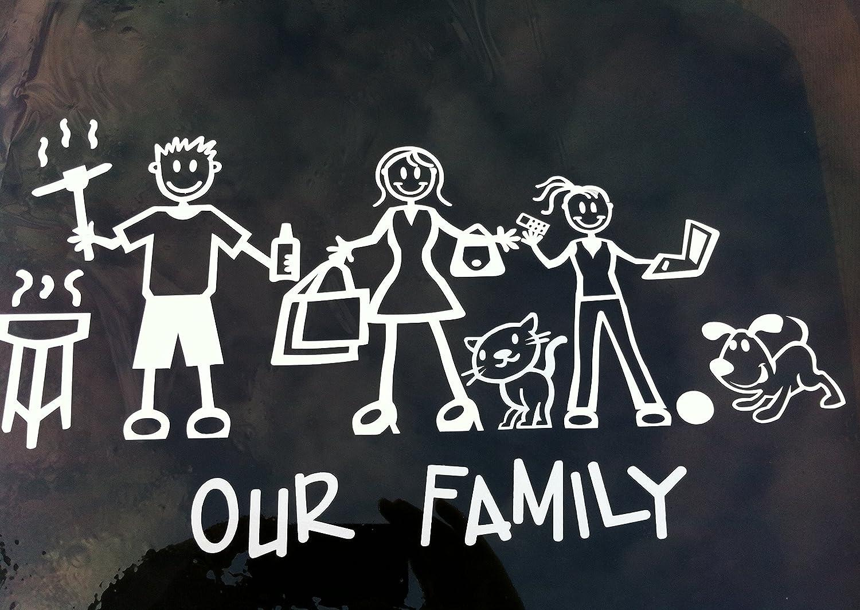 Adesivi Famiglia Stickers Adesiva per Auto My Stick Figure Family vinile adesivi auto cane di taglia media PD2