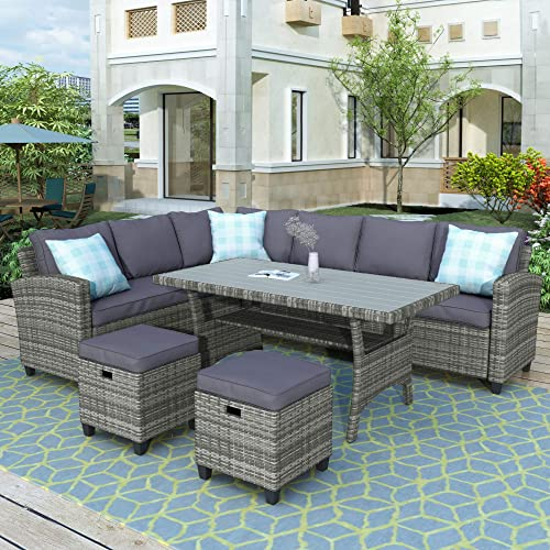 Merax Patio Dining Table Set Outdoor Furniture Sofa PE Rattan Wicker Conversation Set