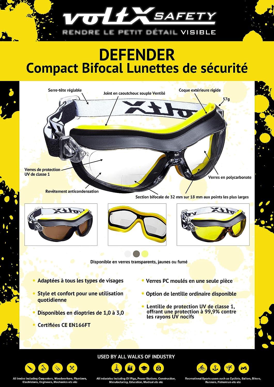 Con revestimiento antiempa/ñamiento safety goggles voltX DEFENDER Gafas de seguridad compactas y ventiladas Certificado CE EN166FT TRANSPARENTE - sin dioptr/ía