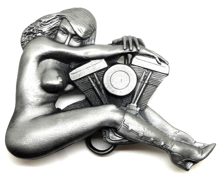 Biker Fibbia della Cintura - Nudo Ragazza & V Twin Motociclo Motore Design - Autentico Bergamot BuckleworX Prodotto di Marca BER BWX 1011