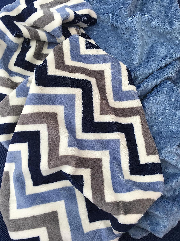 Grey Chevron and Purple  Minky baby Blanket