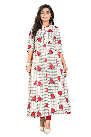 7212f287e5d Kurtis for women (Latest Low price Designer Party wear White Cotton kurtis  for Women Girls)  Amazon.in  Clothing   Accessories