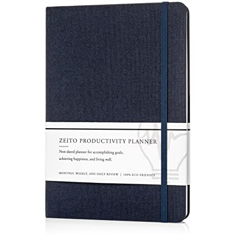 picture about Productivity Planner Templates identify Zeito Productiveness Planner - Simplest Undated Every month, Weekly, and Every day Timetable Planner for Improving upon Determination, Executing Targets, and Dwelling Very well in just