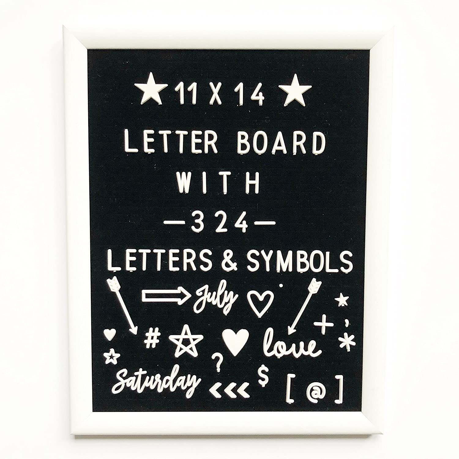 11 x 14 Changeable Letter Board with White Wood Frame, Black Felt Message Sign, Vintage Classroom Announcement Word Bulletin Board + 324 Unique Plastic Characters Set For Menu or Office Quote Signs