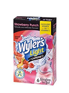 Wyler's Light Singles to Go Caffeinated Drink Mix - Strawberry Punch Powder Sticks (12 Boxes with 6 Packets Each - 72 Total Servings)