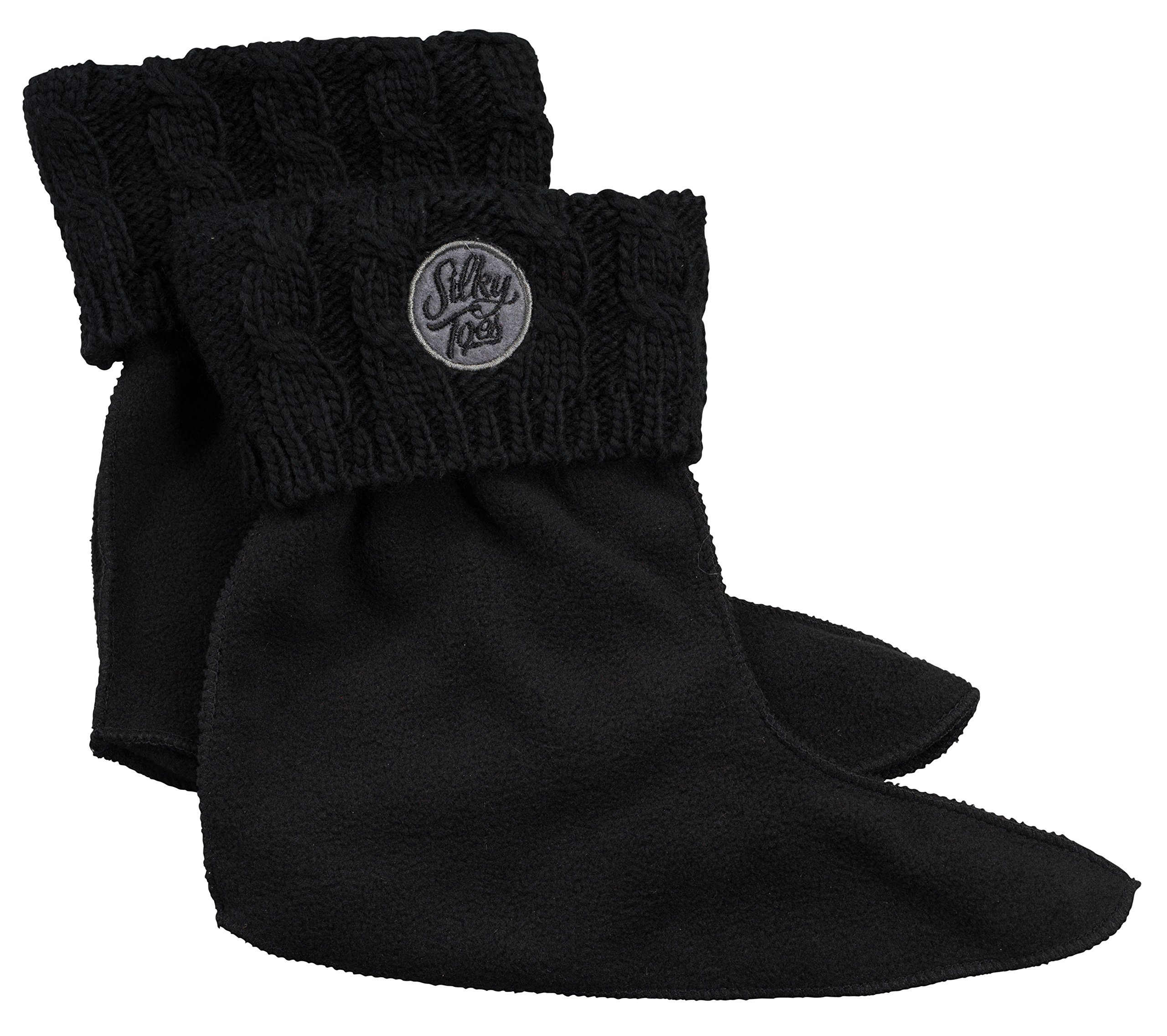 Kids Warm Cozy Fleece Lined Boot Liners With Cable Knit Cuff (Medium, Black)